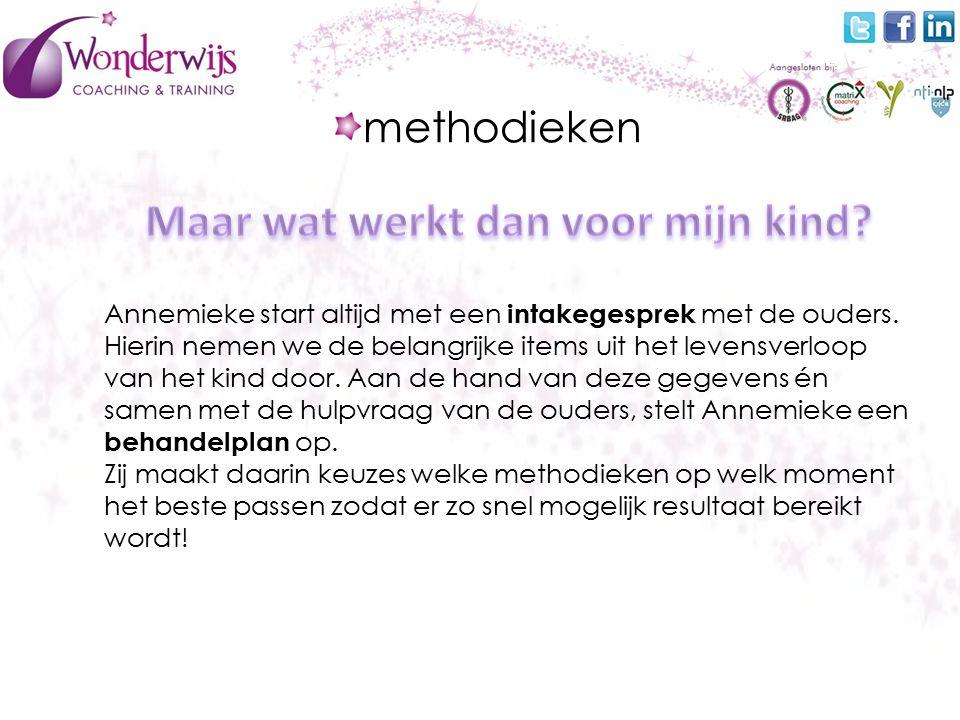 methodieken Annemieke start altijd met een intakegesprek met de ouders.