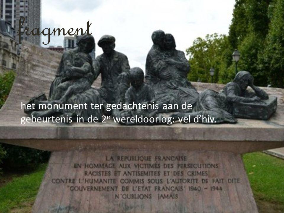 fragment het monument ter gedachtenis aan de gebeurtenis in de 2 e wereldoorlog: vel d'hiv.