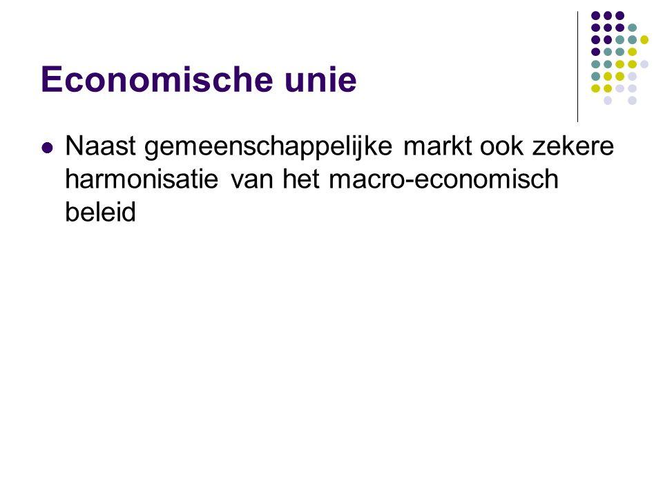 Economische unie Naast gemeenschappelijke markt ook zekere harmonisatie van het macro-economisch beleid