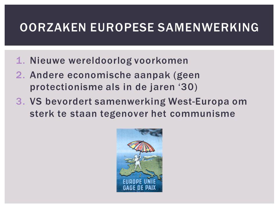 1.Nieuwe wereldoorlog voorkomen 2.Andere economische aanpak (geen protectionisme als in de jaren '30) 3.VS bevordert samenwerking West-Europa om sterk te staan tegenover het communisme OORZAKEN EUROPESE SAMENWERKING