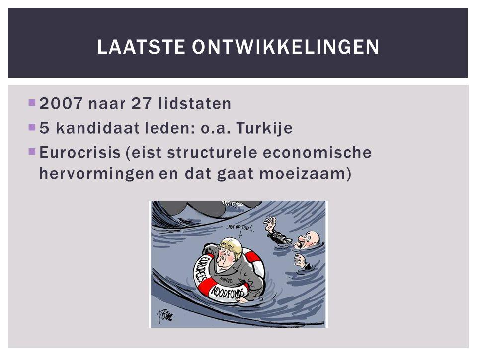  2007 naar 27 lidstaten  5 kandidaat leden: o.a.