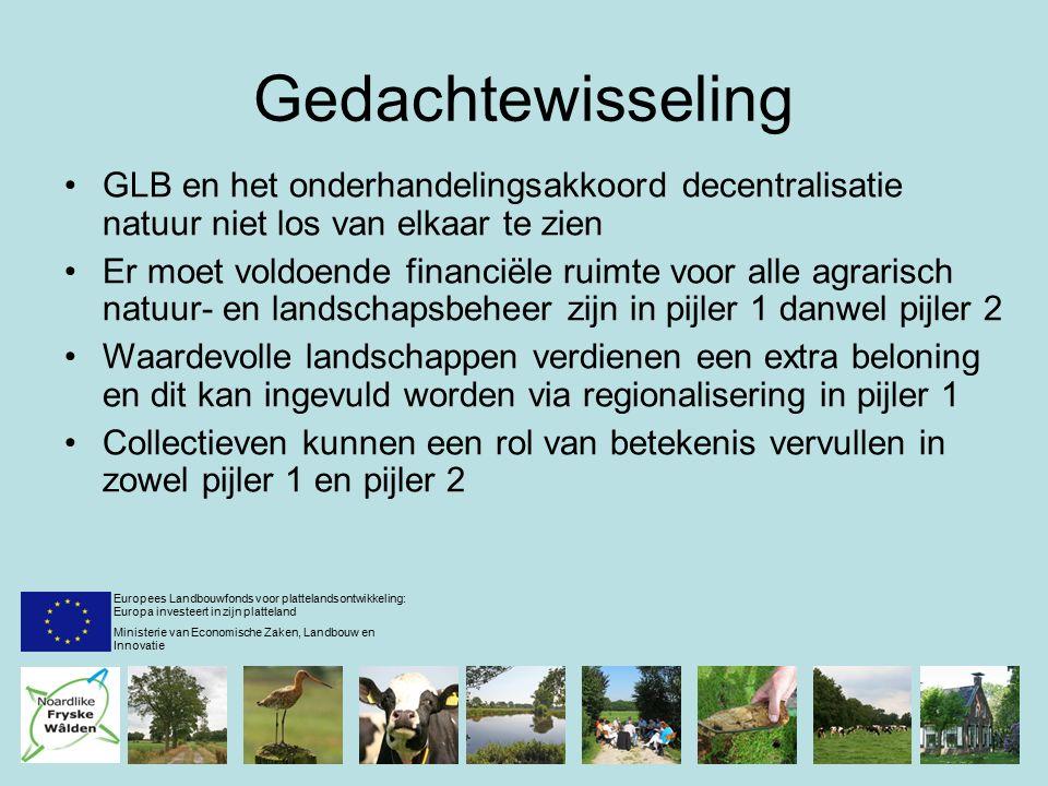 Gedachtewisseling GLB en het onderhandelingsakkoord decentralisatie natuur niet los van elkaar te zien Er moet voldoende financiële ruimte voor alle agrarisch natuur- en landschapsbeheer zijn in pijler 1 danwel pijler 2 Waardevolle landschappen verdienen een extra beloning en dit kan ingevuld worden via regionalisering in pijler 1 Collectieven kunnen een rol van betekenis vervullen in zowel pijler 1 en pijler 2 Europees Landbouwfonds voor plattelandsontwikkeling: Europa investeert in zijn platteland Ministerie van Economische Zaken, Landbouw en Innovatie