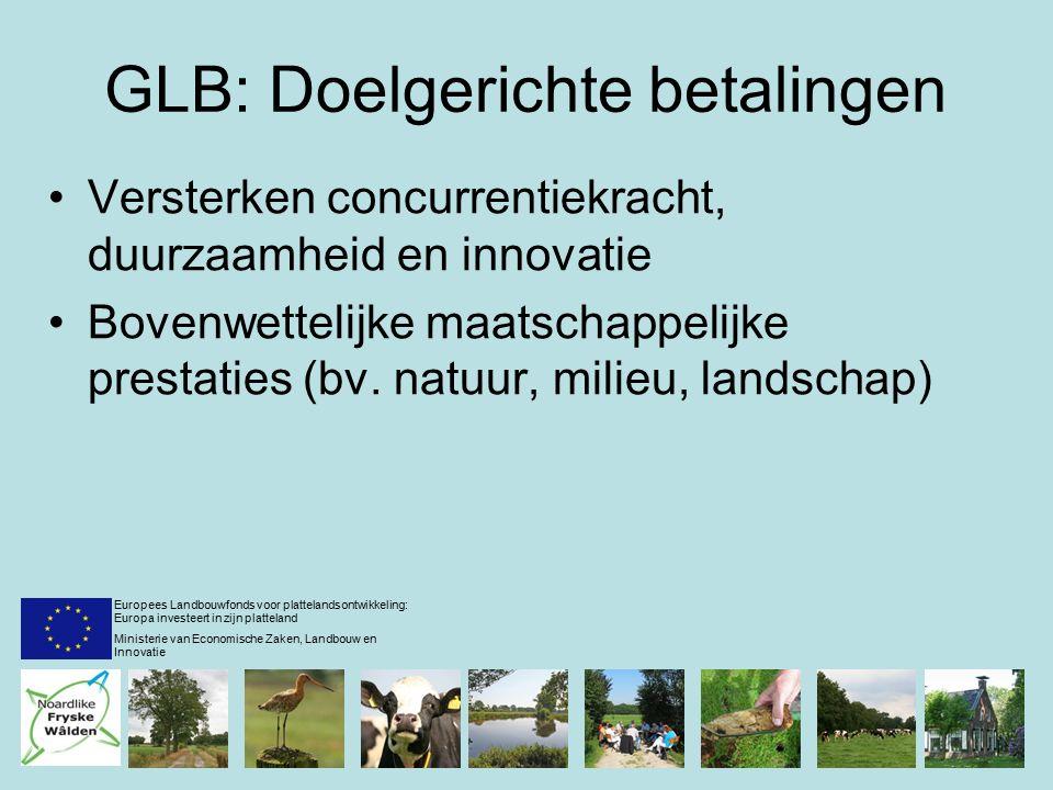 GLB: Doelgerichte betalingen Versterken concurrentiekracht, duurzaamheid en innovatie Bovenwettelijke maatschappelijke prestaties (bv.