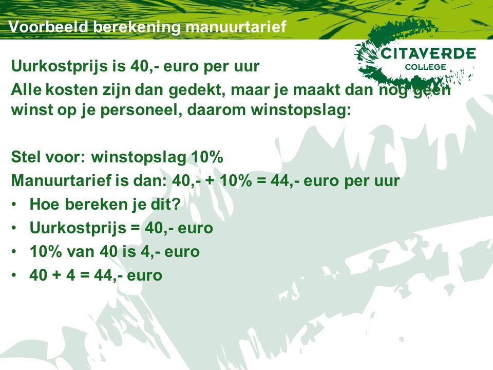 Voorbeeld berekening manuurtarief Uurkostprijs is 40,- euro per uur Alle kosten zijn dan gedekt, maar je maakt dan nog geen winst op je personeel, daarom winstopslag: Stel voor: winstopslag 10% Manuurtarief is dan: 40,- + 10% = 44,- euro per uur Hoe bereken je dit.