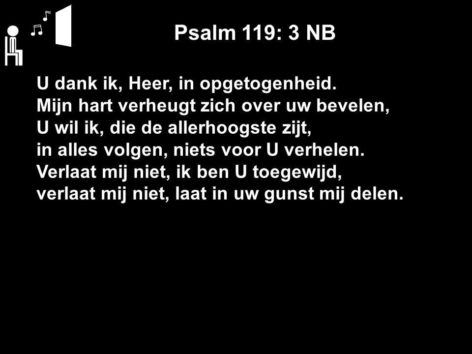 Psalm 119: 3 NB U dank ik, Heer, in opgetogenheid.