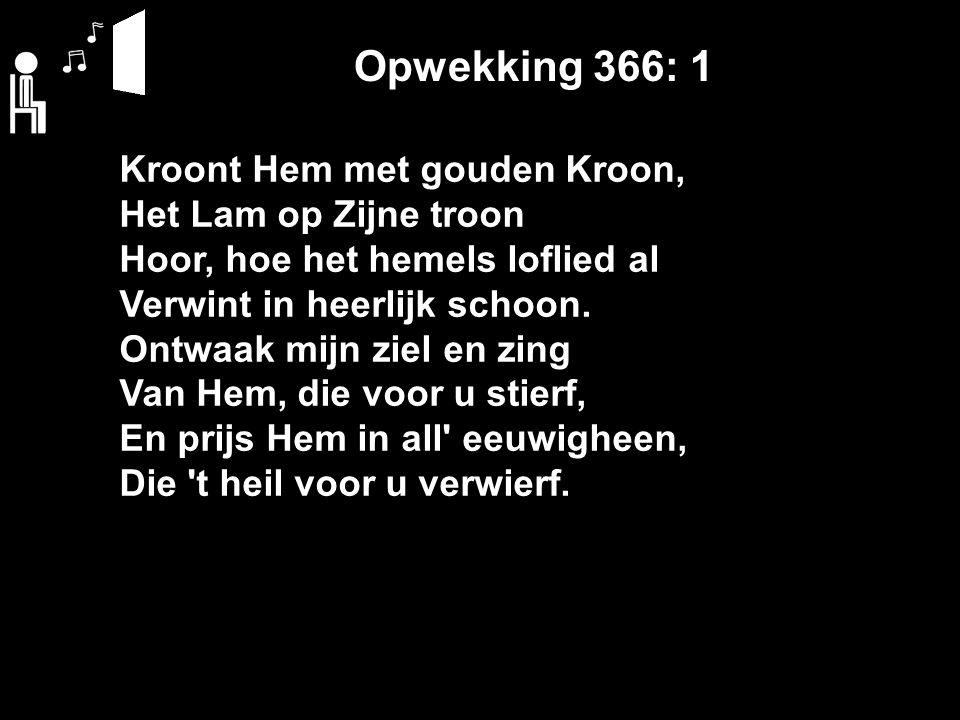 Opwekking 366: 1 Kroont Hem met gouden Kroon, Het Lam op Zijne troon Hoor, hoe het hemels loflied al Verwint in heerlijk schoon.