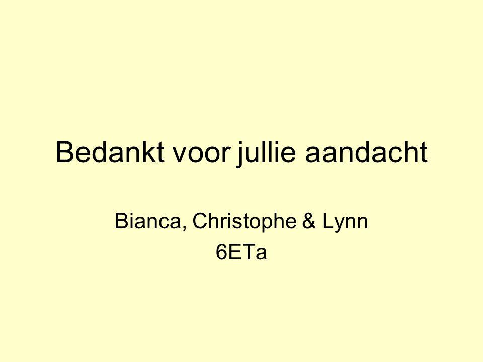 Bedankt voor jullie aandacht Bianca, Christophe & Lynn 6ETa