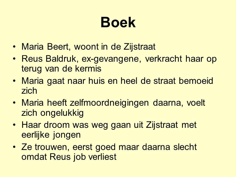 Boek Maria Beert, woont in de Zijstraat Reus Baldruk, ex-gevangene, verkracht haar op terug van de kermis Maria gaat naar huis en heel de straat bemoe