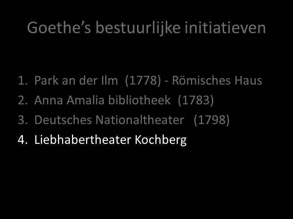 Goethe's bestuurlijke initiatieven 1.Park an der Ilm (1778) - Römisches Haus 2.Anna Amalia bibliotheek (1783) 3.Deutsches Nationaltheater (1798) 4.Lie