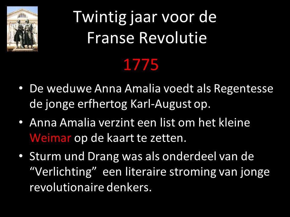 Twintig jaar voor de Franse Revolutie De weduwe Anna Amalia voedt als Regentesse de jonge erfhertog Karl-August op. Anna Amalia verzint een list om he