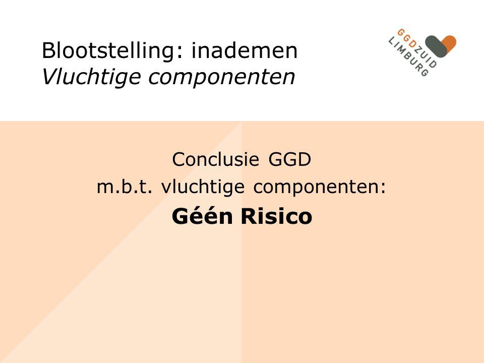 Blootstelling: inademen Vluchtige componenten Conclusie GGD m.b.t.
