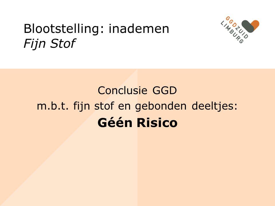 Conclusie GGD m.b.t. fijn stof en gebonden deeltjes: Géén Risico Blootstelling: inademen Fijn Stof
