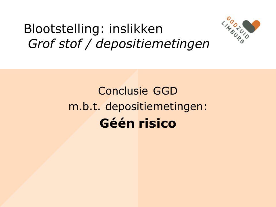Conclusie GGD m.b.t. depositiemetingen: Géén risico