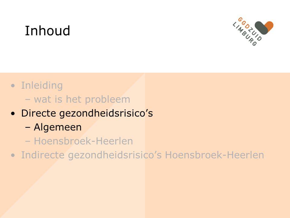 Inhoud Inleiding –wat is het probleem Directe gezondheidsrisico's –Algemeen –Hoensbroek-Heerlen Indirecte gezondheidsrisico's Hoensbroek-Heerlen