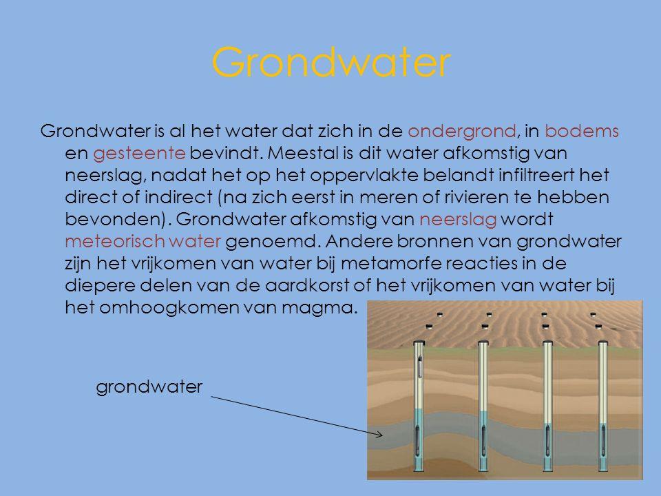 Grondwater Grondwater is al het water dat zich in de ondergrond, in bodems en gesteente bevindt.