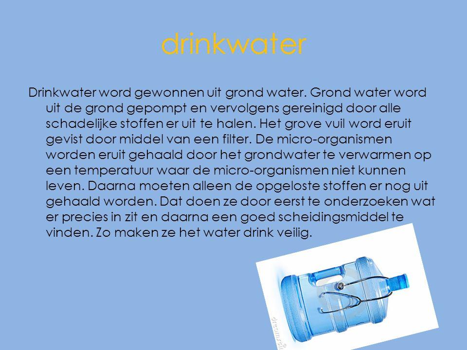 drinkwater Drinkwater word gewonnen uit grond water.