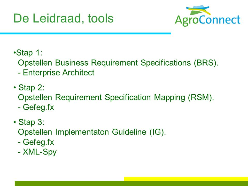 De Leidraad, tools Stap 1: Opstellen Business Requirement Specifications (BRS).
