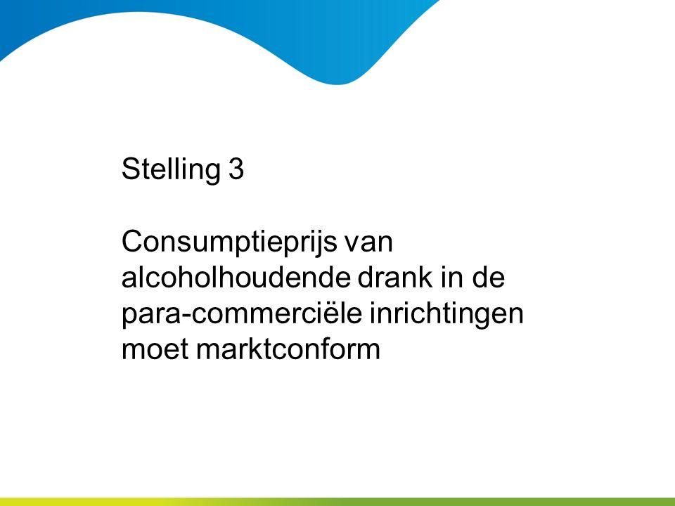 Stelling 3 Consumptieprijs van alcoholhoudende drank in de para-commerciële inrichtingen moet marktconform