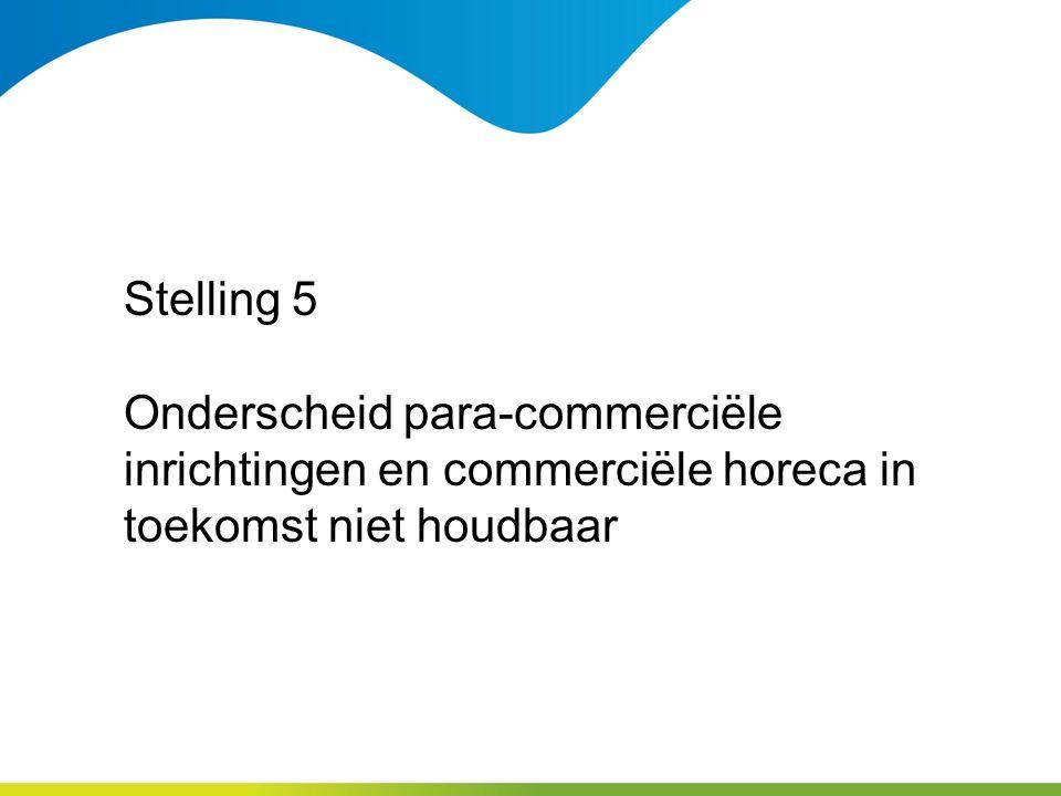 Stelling 5 Onderscheid para-commerciële inrichtingen en commerciële horeca in toekomst niet houdbaar