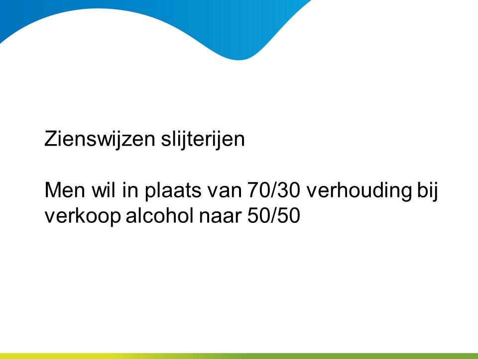 Zienswijzen slijterijen Men wil in plaats van 70/30 verhouding bij verkoop alcohol naar 50/50