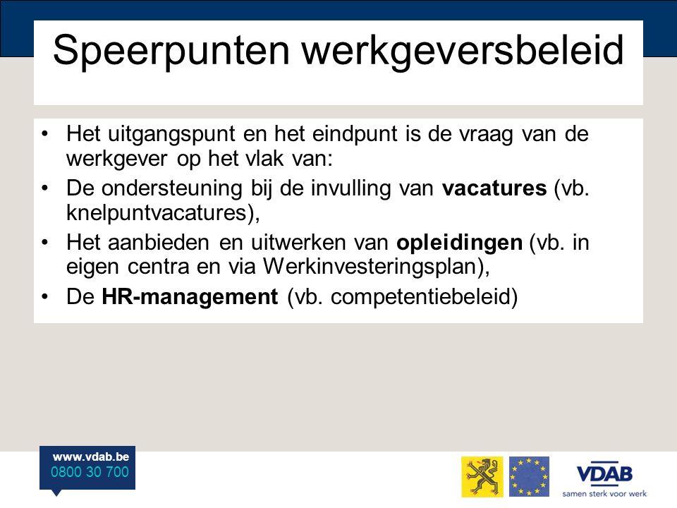 www.vdab.be 0800 30 700 Speerpunten werkgeversbeleid Het uitgangspunt en het eindpunt is de vraag van de werkgever op het vlak van: De ondersteuning b