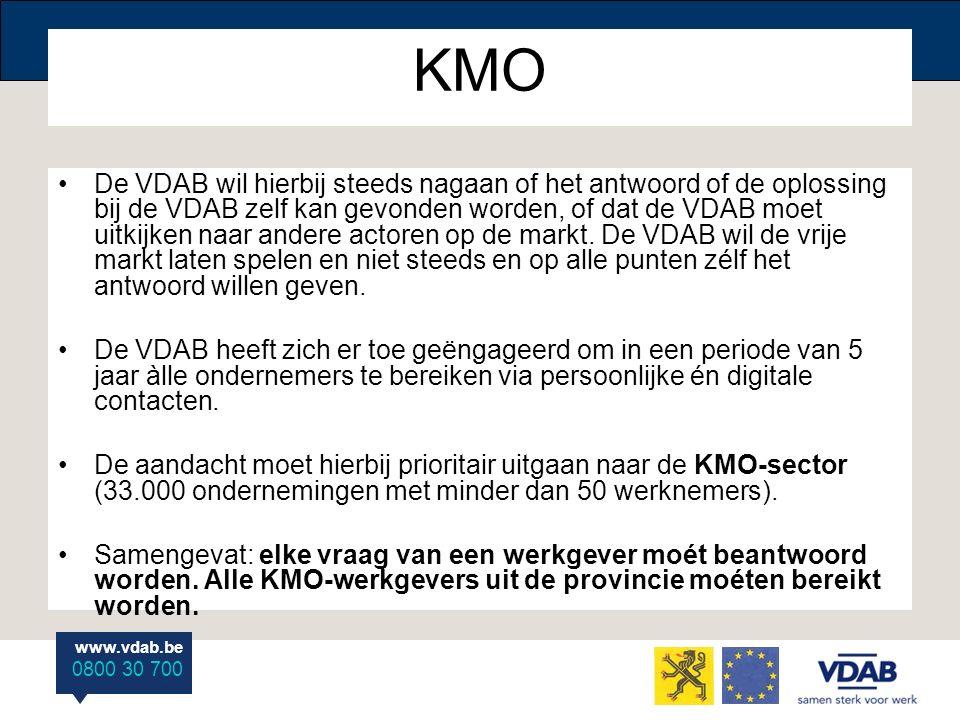 www.vdab.be 0800 30 700 KMO De VDAB wil hierbij steeds nagaan of het antwoord of de oplossing bij de VDAB zelf kan gevonden worden, of dat de VDAB moet uitkijken naar andere actoren op de markt.