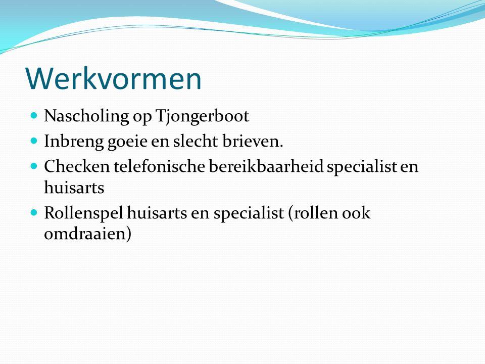 Werkvormen Nascholing op Tjongerboot Inbreng goeie en slecht brieven.