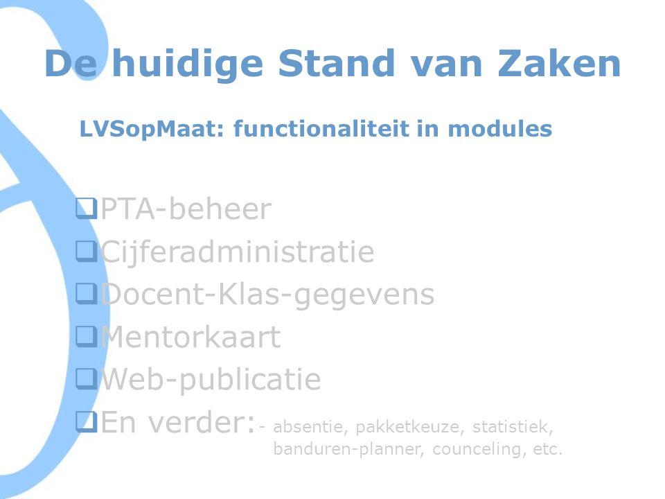 De huidige Stand van Zaken LVSopMaat: functionaliteit in modules  PTA-beheer  Cijferadministratie  Docent-Klas-gegevens  Mentorkaart  Web-publicatie  En verder: - absentie, pakketkeuze, statistiek, banduren-planner, counceling, etc.