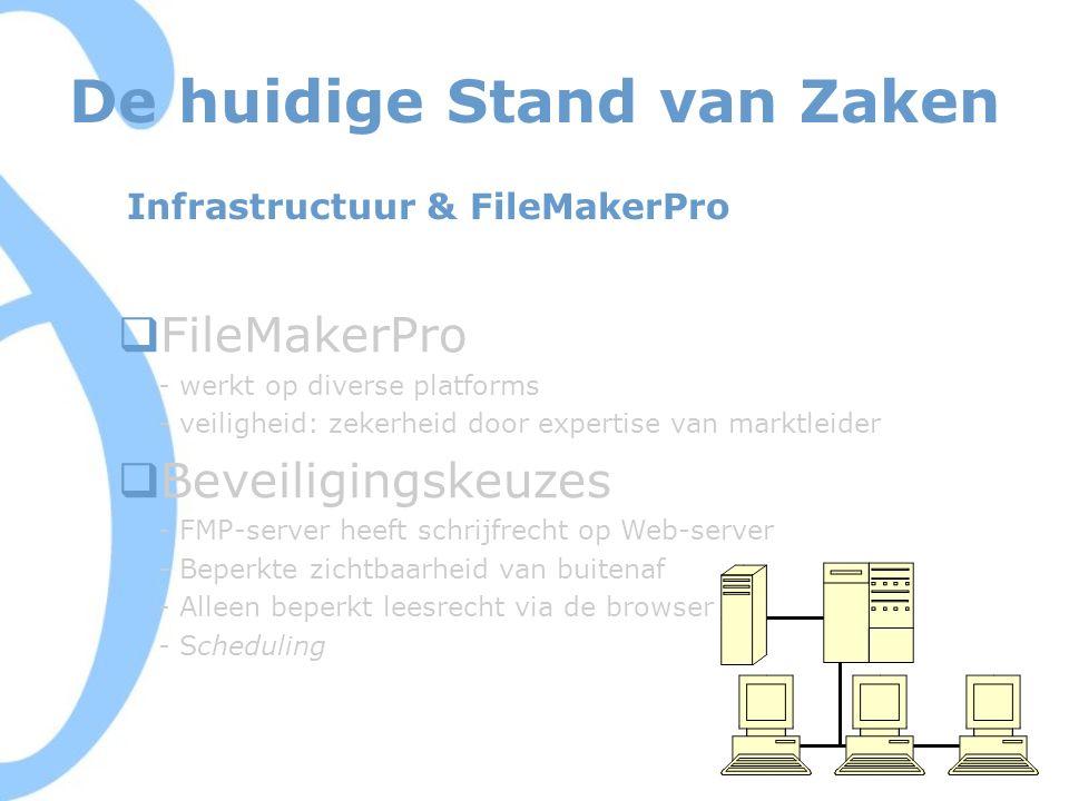 De huidige Stand van Zaken Infrastructuur & FileMakerPro  FileMakerPro - werkt op diverse platforms - veiligheid: zekerheid door expertise van marktleider  Beveiligingskeuzes - FMP-server heeft schrijfrecht op Web-server - Beperkte zichtbaarheid van buitenaf - Alleen beperkt leesrecht via de browser - Scheduling