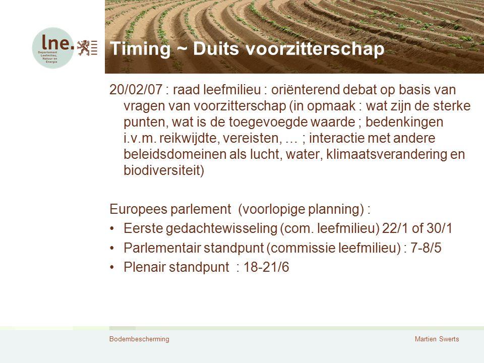 BodembeschermingMartien Swerts Timing ~ Duits voorzitterschap 20/02/07 : raad leefmilieu : oriënterend debat op basis van vragen van voorzitterschap (