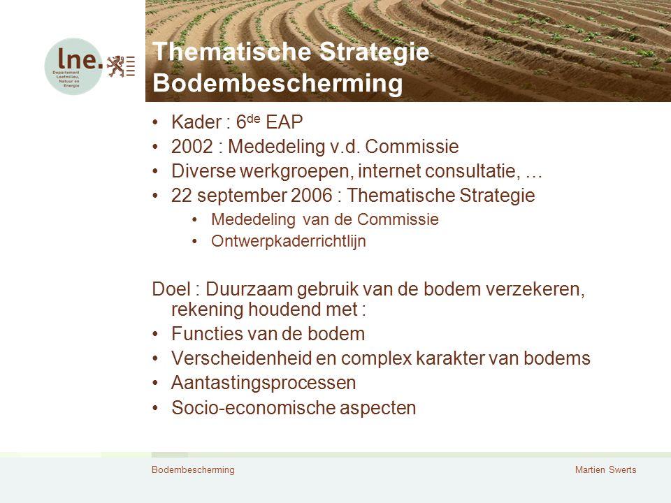 BodembeschermingMartien Swerts Thematische Strategie Bodembescherming Kader : 6 de EAP 2002 : Mededeling v.d. Commissie Diverse werkgroepen, internet