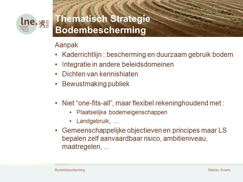 BodembeschermingMartien Swerts Thematisch Strategie Bodembescherming Aanpak Kaderrichtlijn : bescherming en duurzaam gebruik bodem Integratie in ander