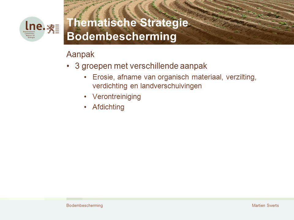 BodembeschermingMartien Swerts Thematische Strategie Bodembescherming Aanpak 3 groepen met verschillende aanpak Erosie, afname van organisch materiaal