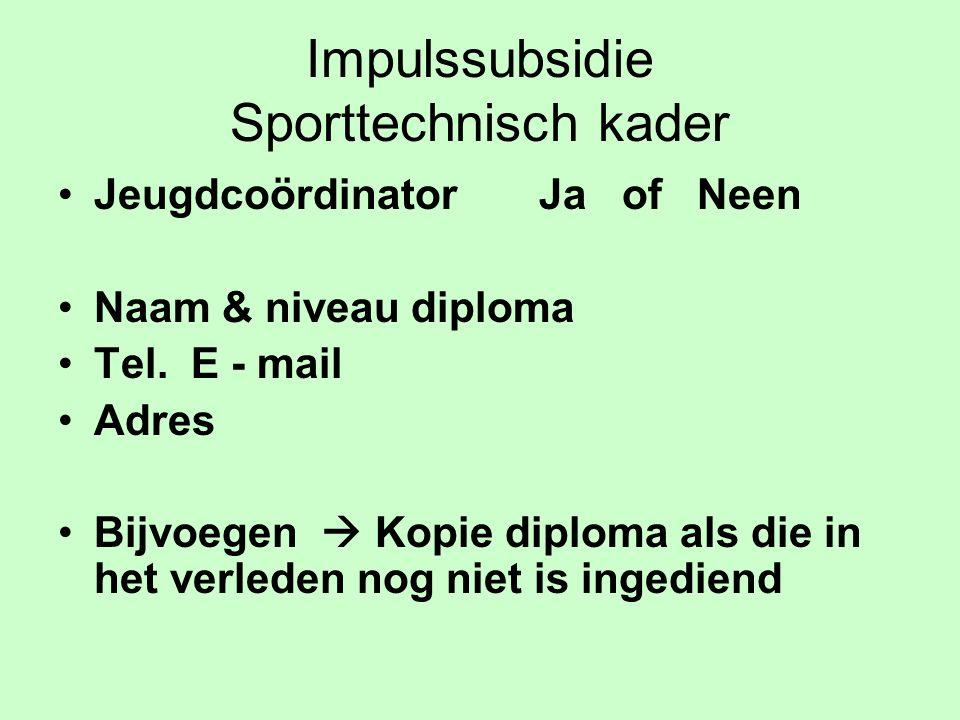 Impulssubsidie Sporttechnisch kader Jeugdcoördinator Ja of Neen Naam & niveau diploma Tel.