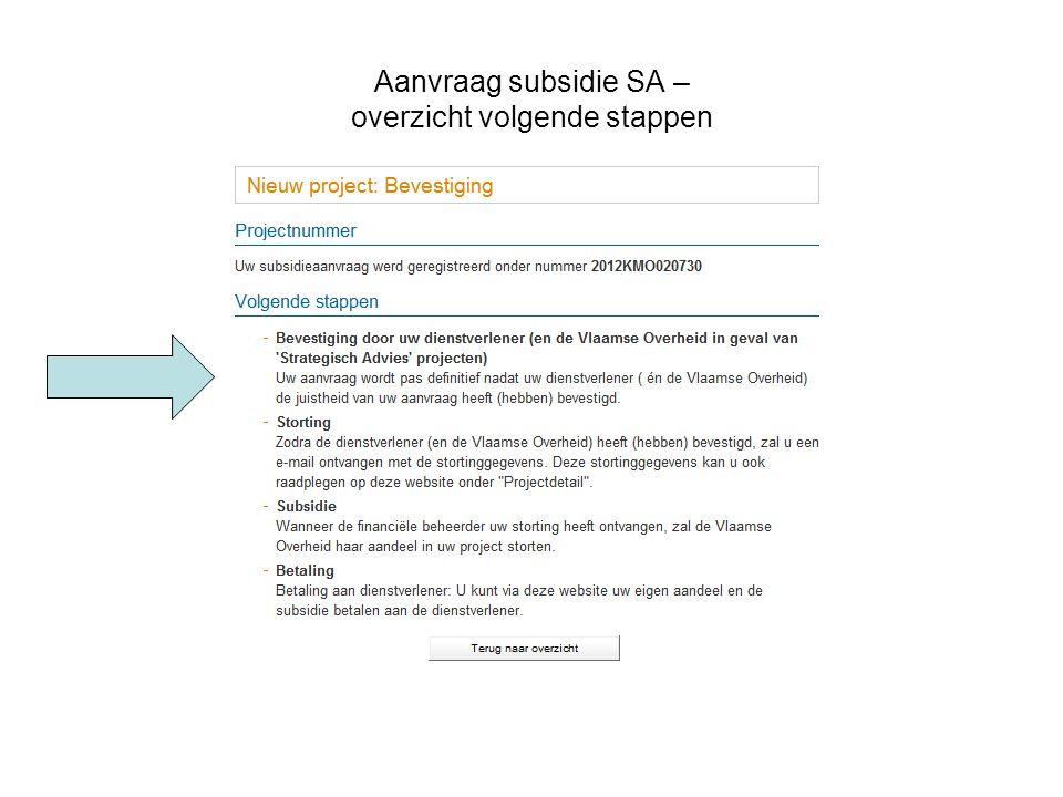 Aanvraag subsidie SA – overzicht volgende stappen