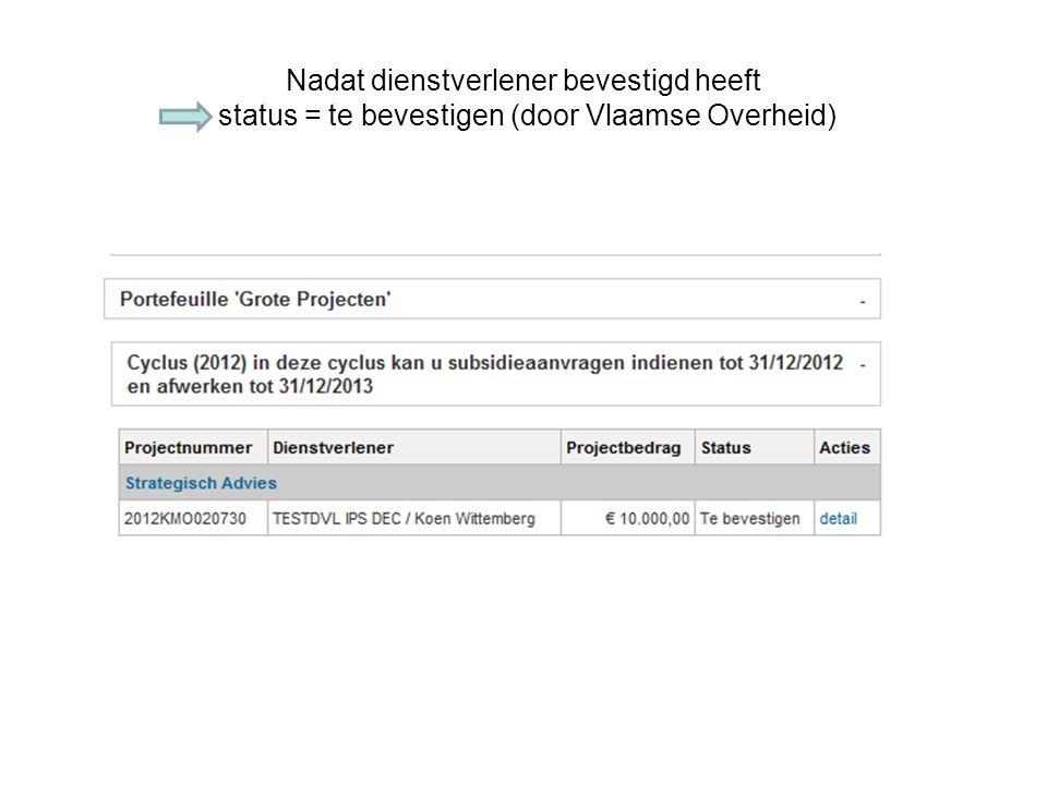 Nadat dienstverlener bevestigd heeft status = te bevestigen (door Vlaamse Overheid)