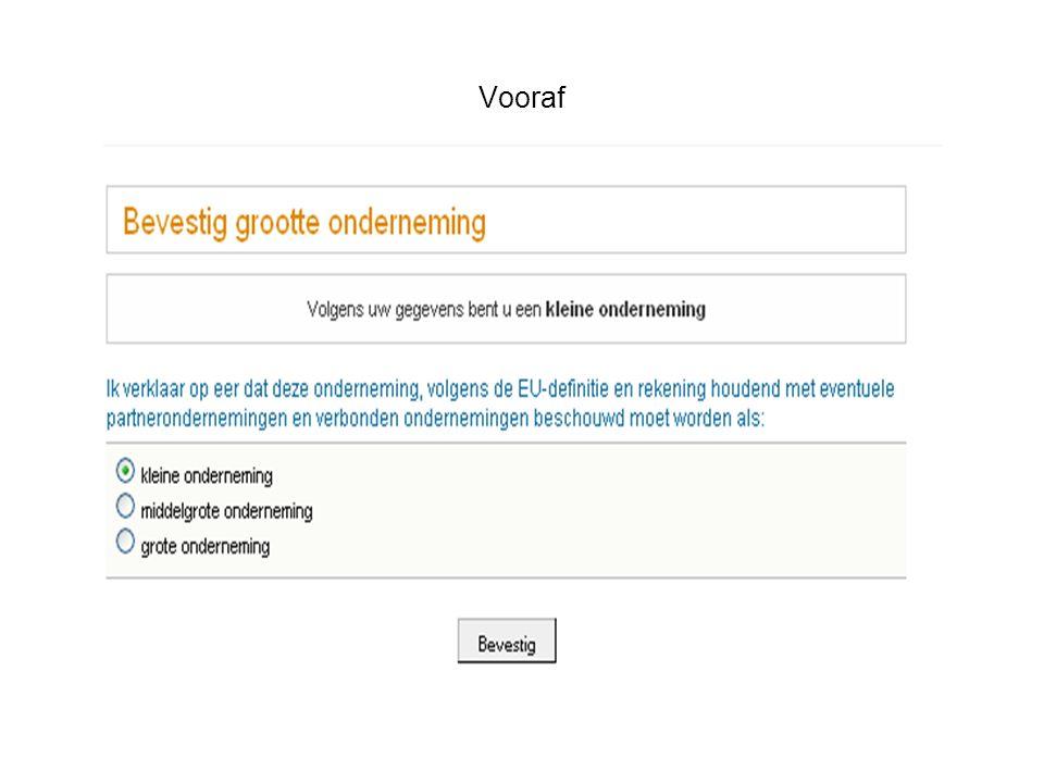 Aanvraag subsidie SA – samenvatting van de gegevens