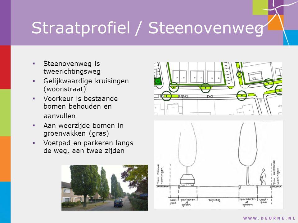  Steenovenweg is tweerichtingsweg  Gelijkwaardige kruisingen (woonstraat)  Voorkeur is bestaande bomen behouden en aanvullen  Aan weerzijde bomen in groenvakken (gras)  Voetpad en parkeren langs de weg, aan twee zijden Straatprofiel / Steenovenweg