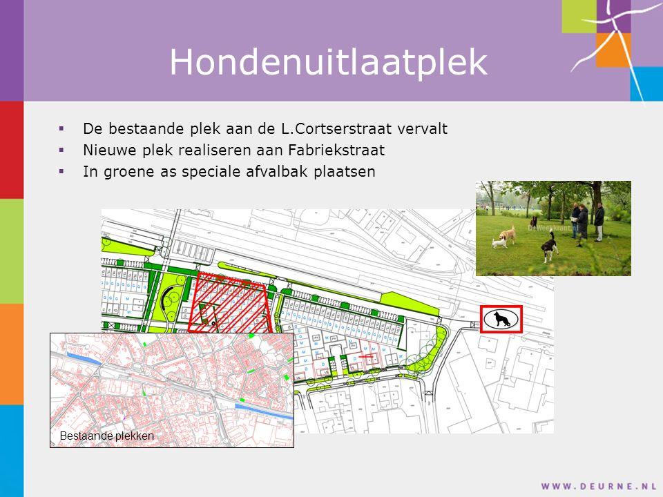 Hondenuitlaatplek  De bestaande plek aan de L.Cortserstraat vervalt  Nieuwe plek realiseren aan Fabriekstraat  In groene as speciale afvalbak plaatsen Bestaande plekken