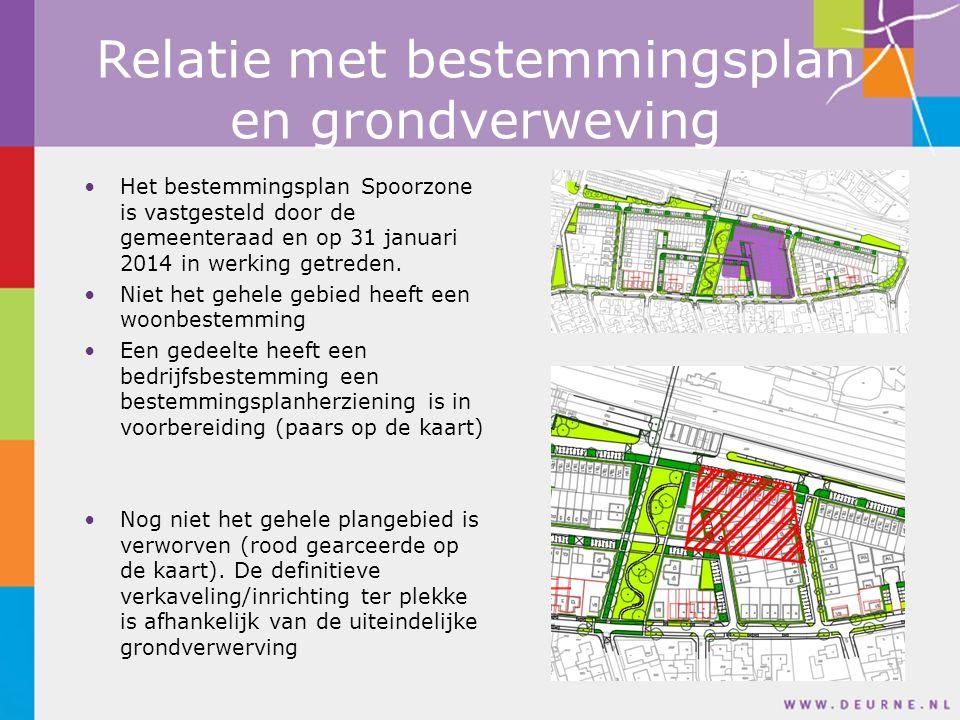 Relatie met bestemmingsplan en grondverweving Het bestemmingsplan Spoorzone is vastgesteld door de gemeenteraad en op 31 januari 2014 in werking getreden.