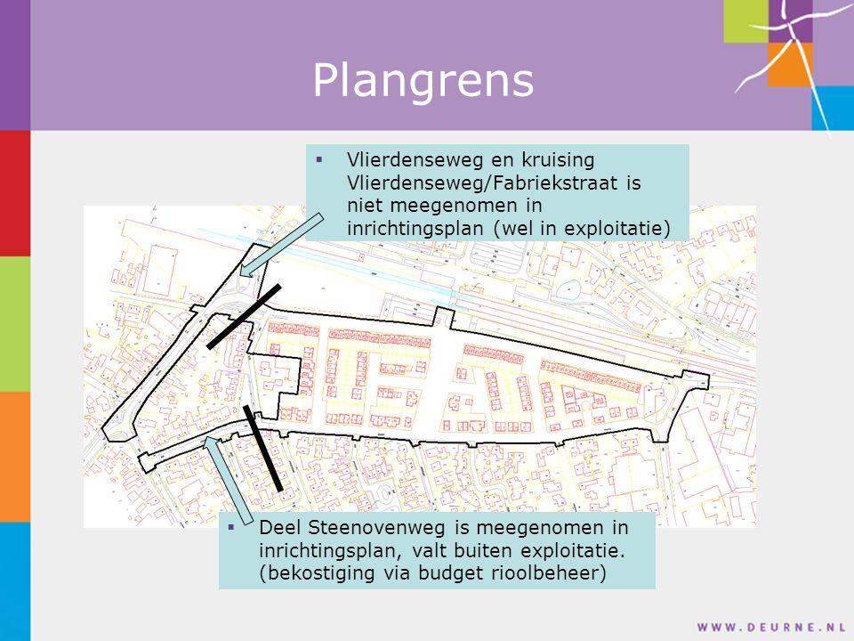 Plangrens  Deel Steenovenweg is meegenomen in inrichtingsplan, valt buiten exploitatie.