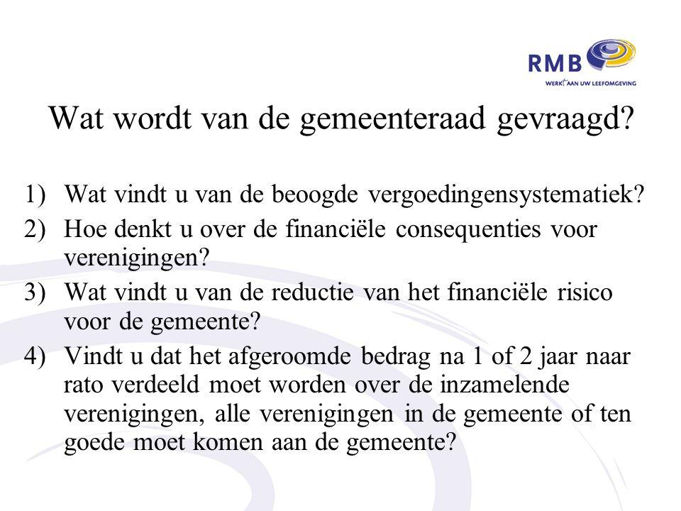 Wat wordt van de gemeenteraad gevraagd. 1)Wat vindt u van de beoogde vergoedingensystematiek.