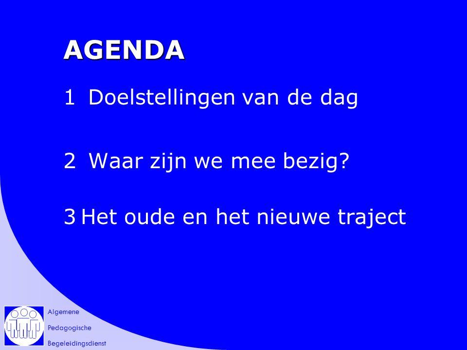 Algemene Pedagogische Begeleidingsdienst AGENDA 1 Doelstellingen van de dag 2 Waar zijn we mee bezig.