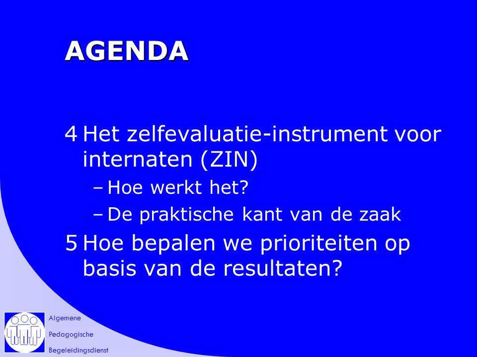 Algemene Pedagogische Begeleidingsdienst AGENDA 4Het zelfevaluatie-instrument voor internaten (ZIN) –Hoe werkt het.