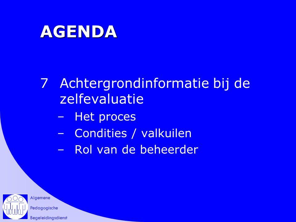 Algemene Pedagogische Begeleidingsdienst AGENDA 7Achtergrondinformatie bij de zelfevaluatie –Het proces –Condities / valkuilen –Rol van de beheerder