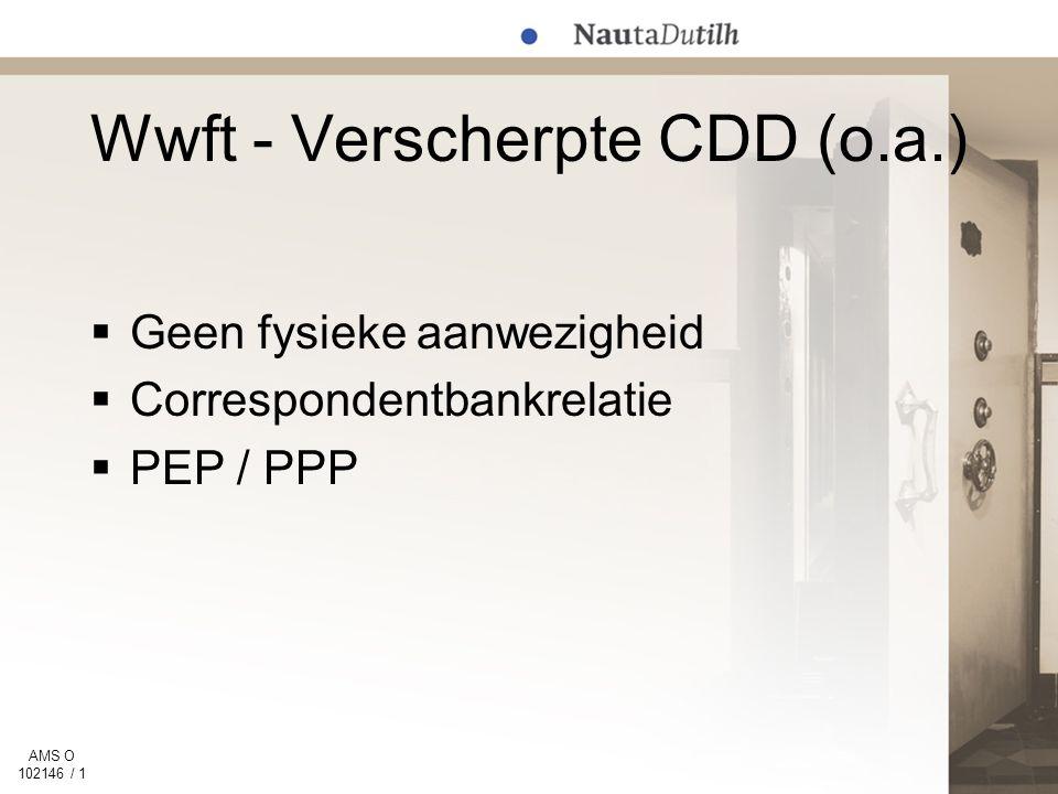 AMS O 102146 / 1 Wwft - Verscherpte CDD (o.a.)  Geen fysieke aanwezigheid  Correspondentbankrelatie  PEP / PPP