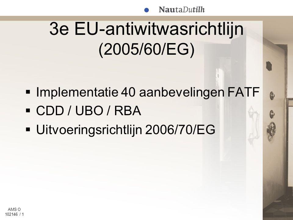 AMS O 102146 / 1 3e EU-antiwitwasrichtlijn (2005/60/EG)  Implementatie 40 aanbevelingen FATF  CDD / UBO / RBA  Uitvoeringsrichtlijn 2006/70/EG