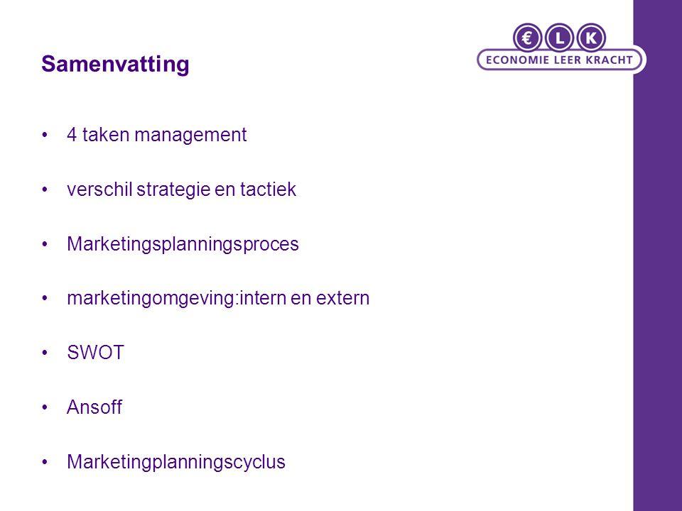 Samenvatting 4 taken management verschil strategie en tactiek Marketingsplanningsproces marketingomgeving:intern en extern SWOT Ansoff Marketingplanningscyclus