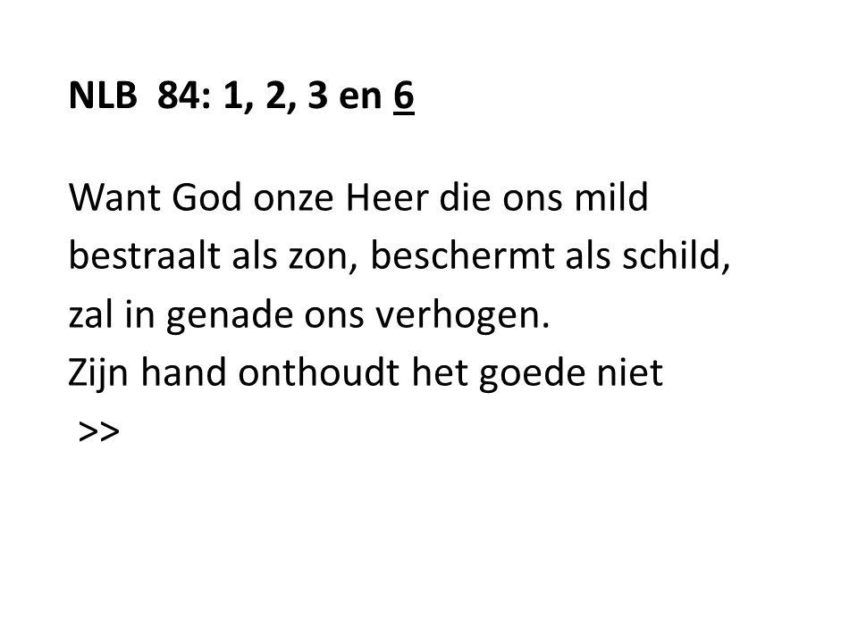 NLB 84: 1, 2, 3 en 6 Want God onze Heer die ons mild bestraalt als zon, beschermt als schild, zal in genade ons verhogen. Zijn hand onthoudt het goede