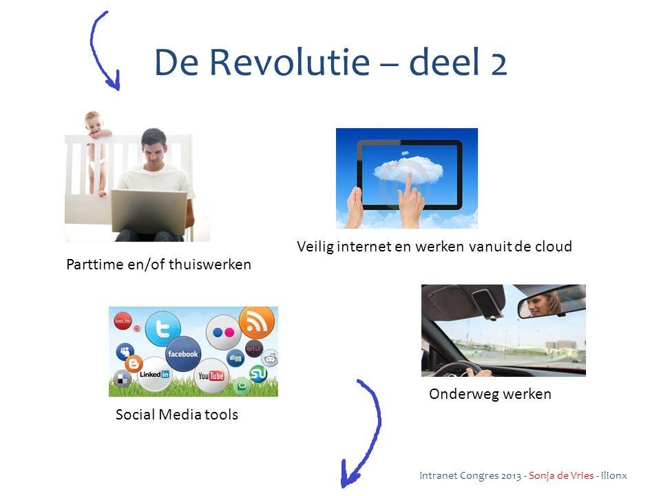 Parttime en/of thuiswerken Veilig internet en werken vanuit de cloud Social Media tools De Revolutie – deel 2 Onderweg werken Intranet Congres 2013 - Sonja de Vries - ilionx